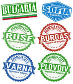 Bulgaria cities stamps set — Stock Vector