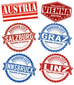 Austria cities stamps set — Stock Vector