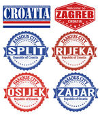 Croatia cities stamps set — Stock Vector