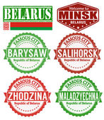 Belarus cities stamps set — Stock Vector