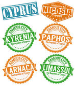 Cyprus cities stamps set — Stock Vector