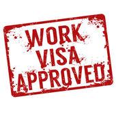 Work visa approved stamp — Stock Vector