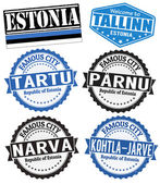Estonia cities stamps — Stock Vector