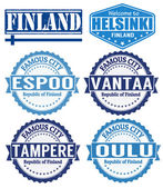 Finland cities stamps — Stock Vector