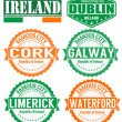 Ireland cities stamps — Stock Vector