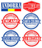 Andorra cities stamps — Stock Vector