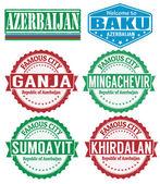 Azerbaijan cities stamps — Stock Vector