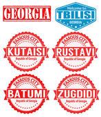 Georgia cities stamps — Stock Vector