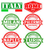 Italy cities stamps — Stock Vector