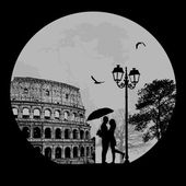 Couple silhouette in Rome , vector illustration — Stock Vector
