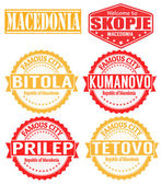 Macedonia cities stamps — Stock Vector