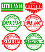 Lithuania cities stamps — Stock Vector