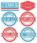 Luxembourg cities stamps — Stock Vector
