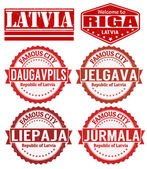 Latvia cities stamps — Stock Vector