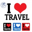 Stock Vector: I love travel sign and labels