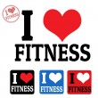 Stock Vector: I love fitness sign and labels