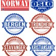 Stock Vector: Norway stamps