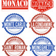 Monaco stamps — Stock Vector