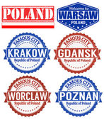 Poland stamps — Stock Vector