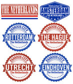 The Netherlands stamps — Stock Vector