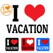 I love Vacation sign and labels — Stock Vector