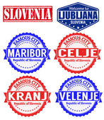 Slovenia cities stamps — Stock Vector