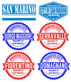 San Marino cities stamps — Stock Vector