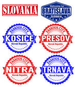 Slovakia cities stamps — Stock Vector