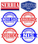 Serbia cities stamps — Stock Vector
