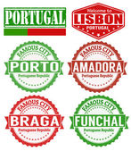 Portugal cities stamps — Stock Vector