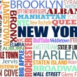 Collage with various words with New York — Stock Vector