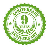 9 years anniversary stamp — Stock Vector