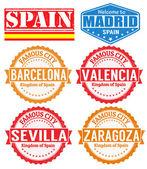 Spanien städer frimärken — Stockvektor