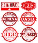 Switzerland cities stamps — Stock Vector