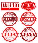 Turkey cities stamps — Stock Vector