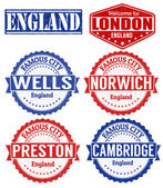 England cities stamps — Stock Vector