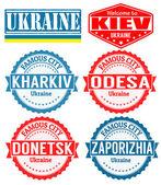 Ukraine cities stamps — Stock Vector