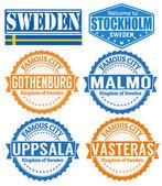 Sweden cities stamps — Stock Vector