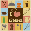 Kitchen retro poster — Vecteur #42435603