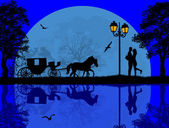 Carriage and lovers at blue night — Stock Vector