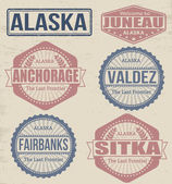 Alaska cities stamps — Stock Vector
