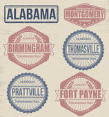 Alabama cities stamps — Stock Vector