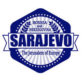 Sarajevo capital of Bosnia and Herzegovina label or stamp — Stock Vector