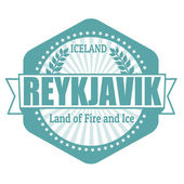Reykjavik capital of Iceland label or stamp — Stock Vector