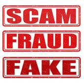 Scam, fraud and fake stamps — Stock Vector