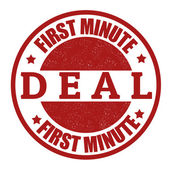 First minute deal stamp — Stock Vector