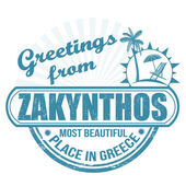 Greetings from Zakynthos stamp — Stock Vector