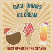 Bebidas frías y sello de helado — Vector de stock