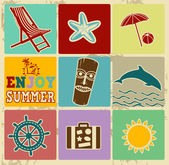 Set of Vintage Summer Labels — Stock Vector