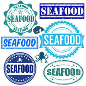 Set of seafood stamps — Stock Vector